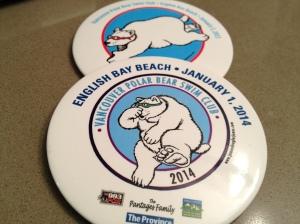 Polar Bear Swim 2014, 2013 badges copyright Shelagh Donnelly