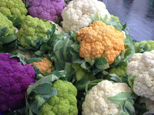 Kits Farmers' Market Colourful Cauliflowers Copyright Shelagh Donnelly