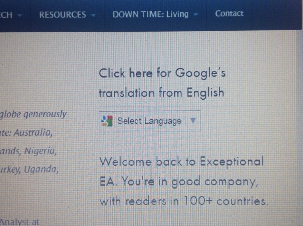 Google Translate on Exceptional EA 2 Copyright Shelagh Donnelly